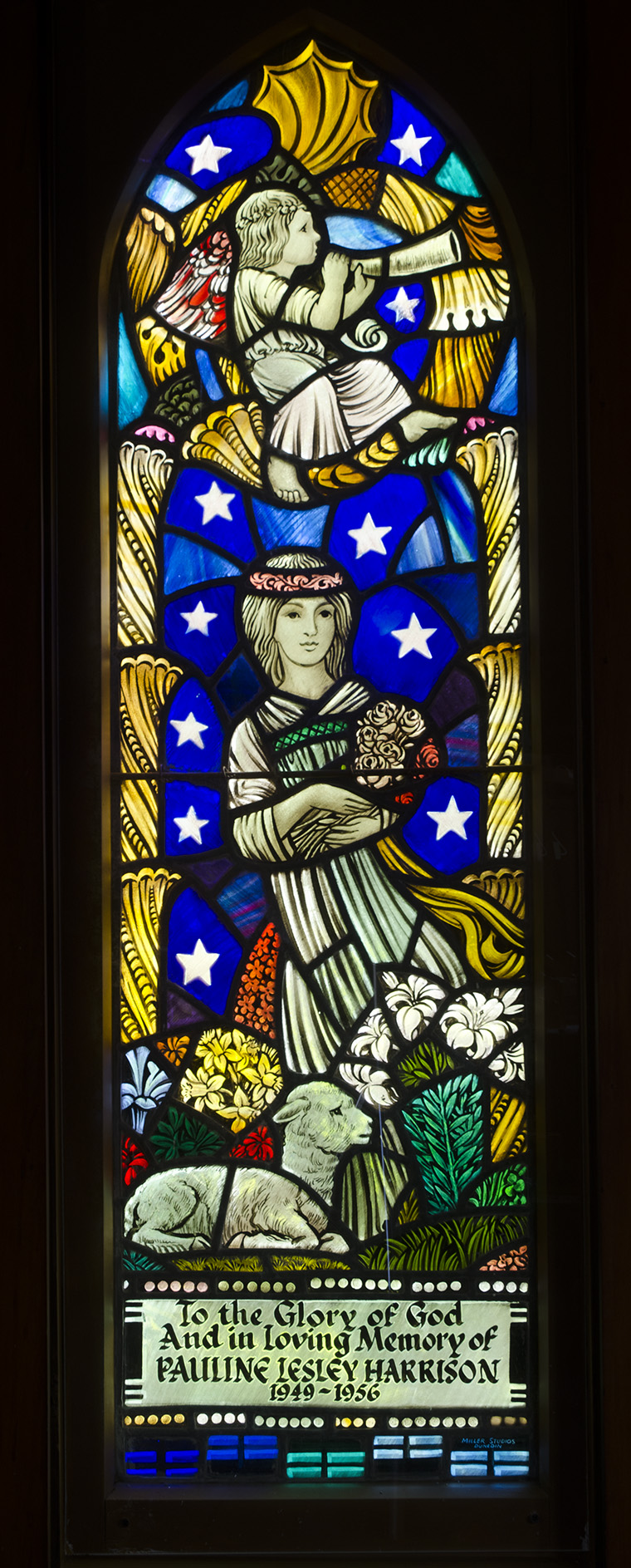 St John's Anglican Church Lyndhurst ST Wesport - 1 Ellis - 1 Bunton and one probably BSB - This window toPauline Harrison who died aged 10 - she was a sickly child from birth - Father was a pharmacist - she had some illness which caused early death -