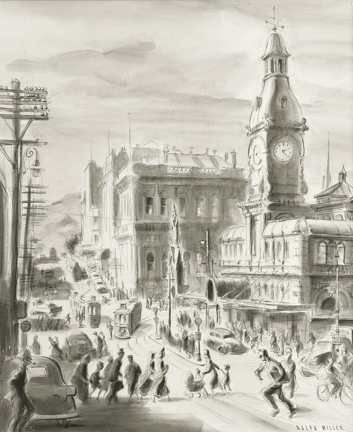 People and traffic around the 'Exchange' - a wash drawing by Ralph Miller c.1950.