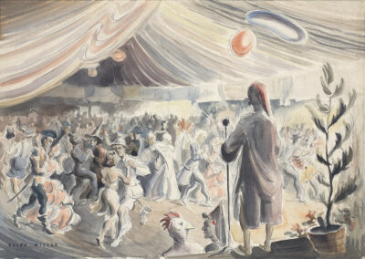 'Fancy dress ball' a wash drawing by Ralph Miller of people in the Dunedin Town Hall c.1950