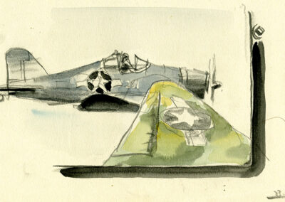 Fighter escort for a Douglas transporter carrying New Zealand soldiers in WW2 - conte and wash drawing by Ralph Miller