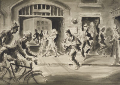 Conte and wash drawing by Ralph Miller of staff leaving Cadbury's factory Dunedin at the end of the day Titled 'Five o'clock whistle' c.1950