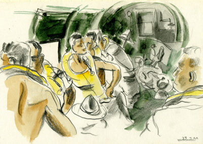 New Zealand soldiers in the Pacific flying in a Douglas Transporter with life jackets ready - conte and wash drawing by Ralph Miller