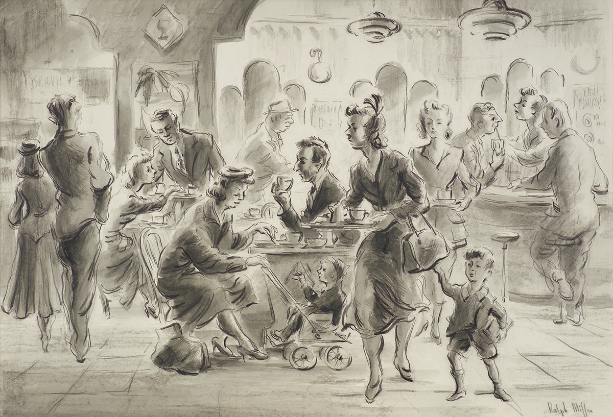 'Lunch hour' at the Vedic Cafe, Dunedin. A conte and wash drawing by Ralph Miller, c. 1950