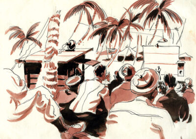 Navy picture theatre on Vella Lavella Island in the Solomon Islands during WW2 - ink and wash drawing by Ralph Miller