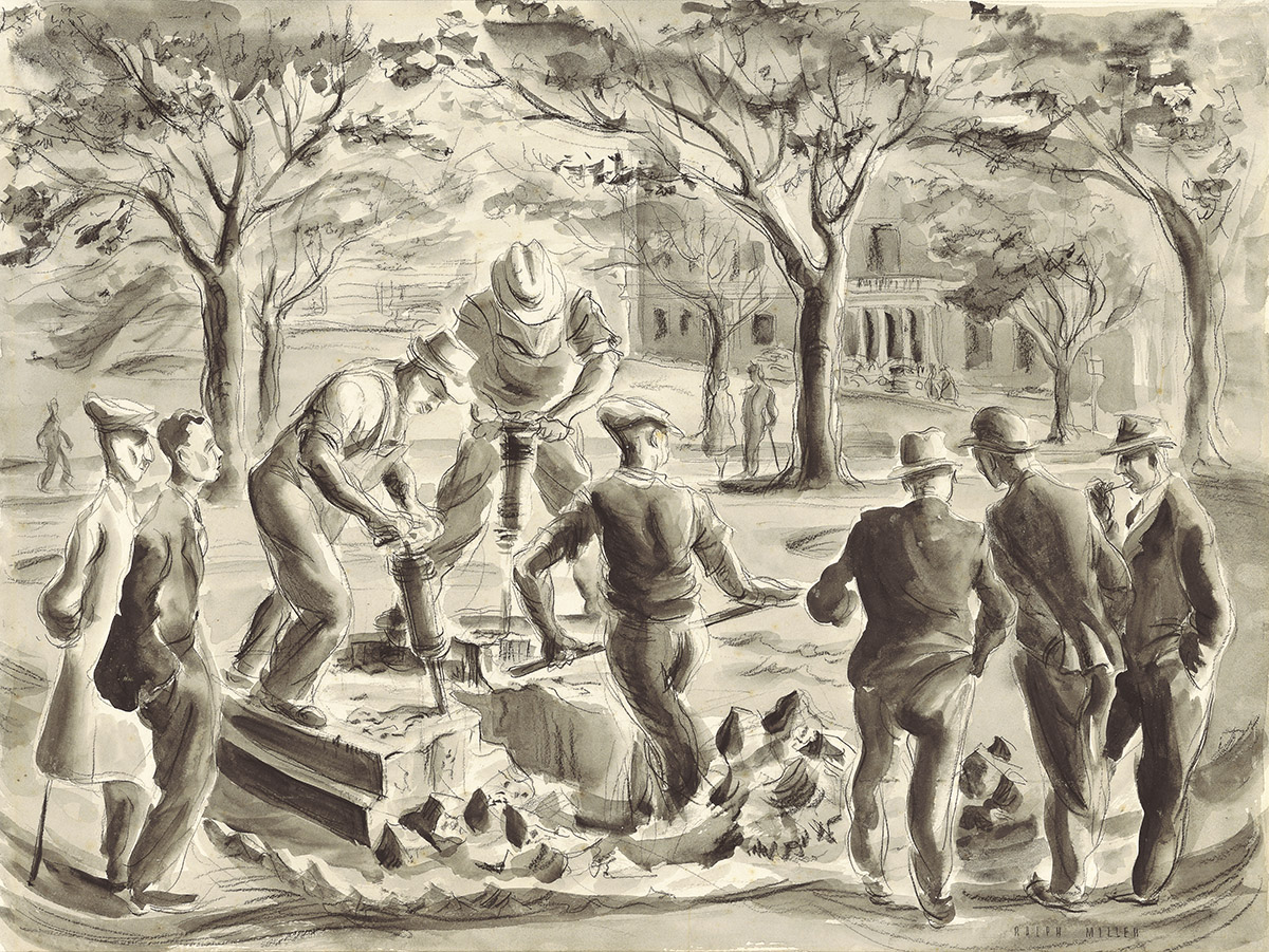 'Octagon demolition' - Workers removing an old monument in Dunedin in 1949. Conte and wash drawing by Ralph Miller.