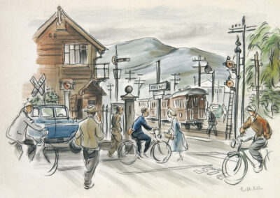 'Railway Crossing' Dunedin where the Chinese Gardens are today. Conte and wash drawing by Ralph Miller.