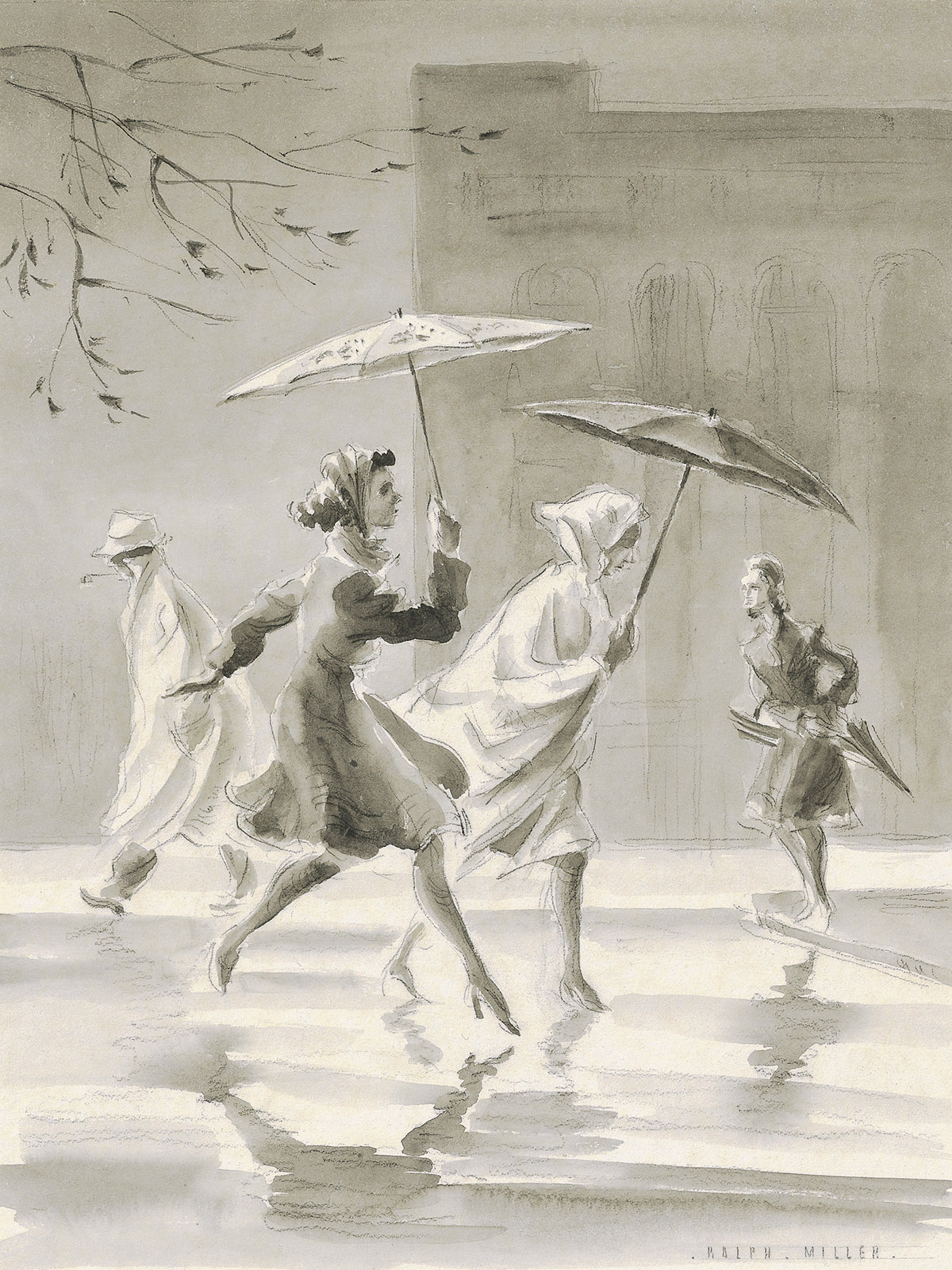 'Rainy Day' People running across the road with umbrellas in Dunedin. Wash drawing by Ralph Miller