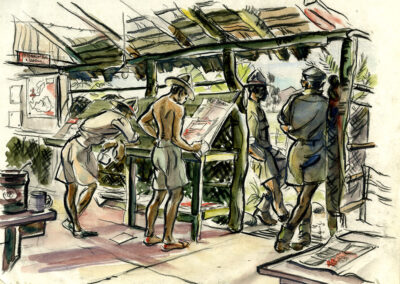 New Zealand soldiers in the YMCA Reading Room in New Caledonia WW2 - conte and wash drawing by Ralph Miller