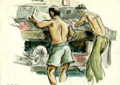 New Zealand soldiers catching up on the news in New Caledonia in WW2 - conte and wash drawing by Ralph Miller.