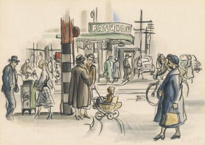 Dunedin street scene- Titled 'Street Corner' drawn in conte and wash by Ralph Miller c.1950