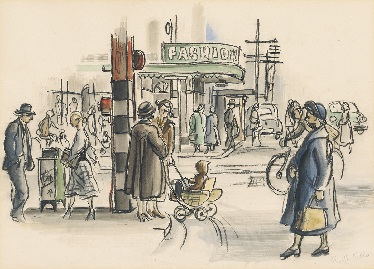 Dunedin street scene- Titled 'Street Corner' drawn in conte and wash by Ralph Miller c.1950