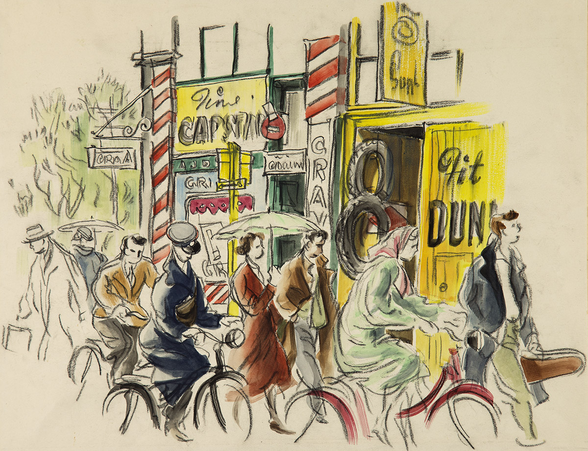 'Street scene' Dunedin c.1949 Conte and watercolour drawing by Ralph Miller