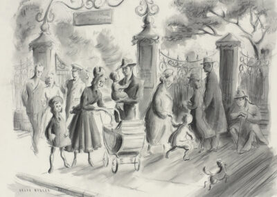 'Sunday Afternoon' people at the Botanical Gardens corner in Dunedin. A conte and wash drawing by Ralph Miller c.1950