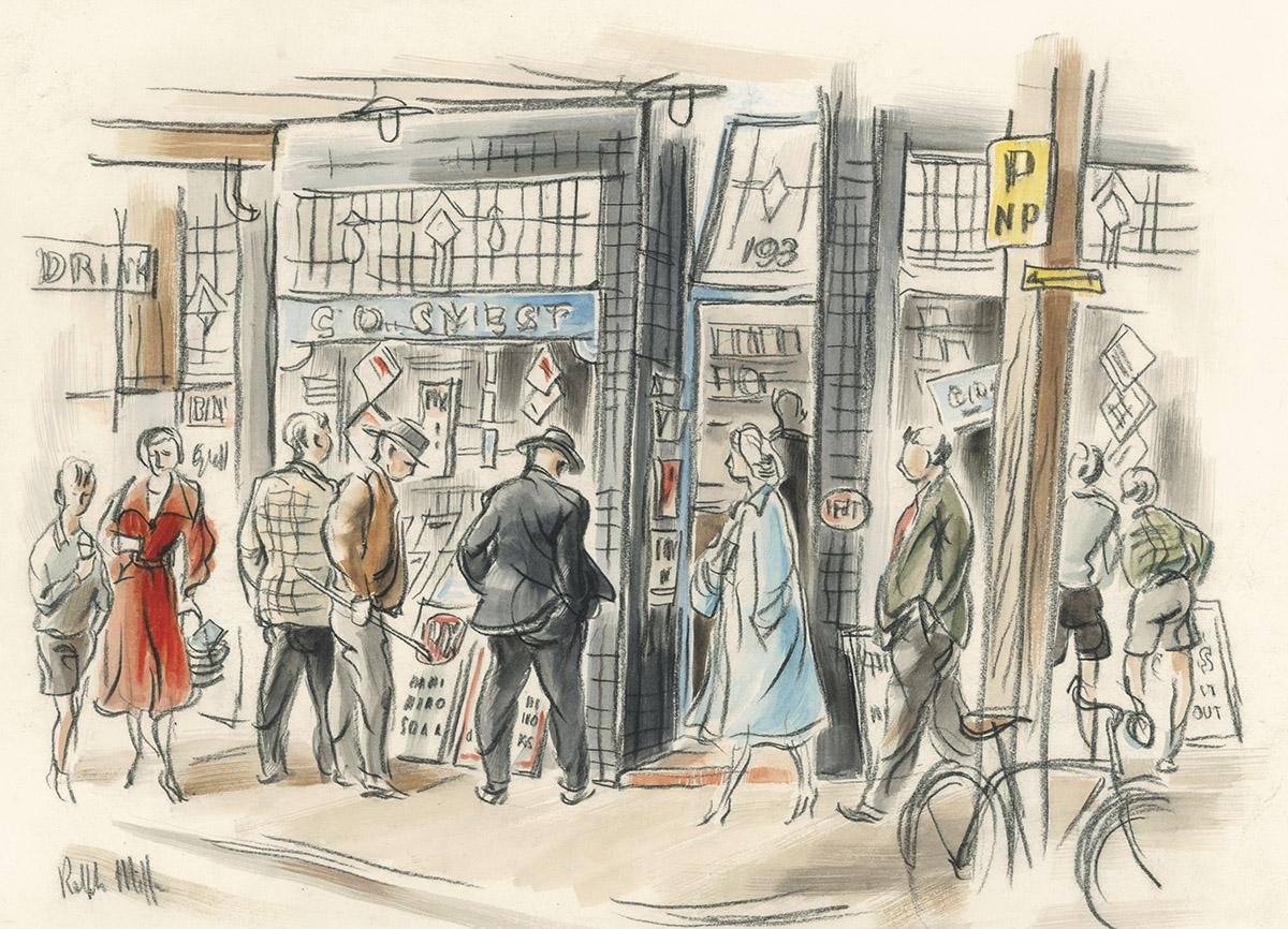 'Window Shopper' corner Manse and High Streets Dunedin. Conte wash drawing Ralph Miler.