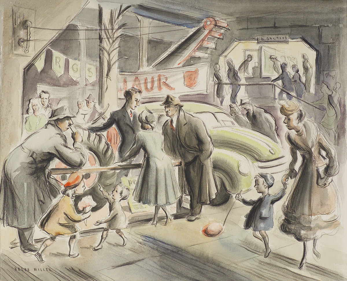 'Winter Show' people in the farming section. Watercolour and wash by Ralph Miller .c.1950