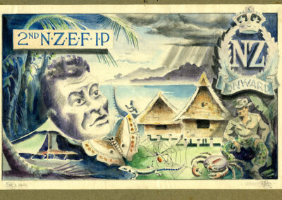 WW2 card design for '2nd NZEF-IP - Onward' New Zealand Expeditionary Force in Pacific. Drawn by Ralph Miller