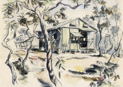 New Zealand Army hut on New Caledonia, WW2. Conte and wash drawing by Ralph Miller