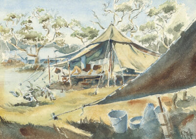 New Zealand Army bell tents, WW2 Pacific. Watercolour painting by Ralph Miller.