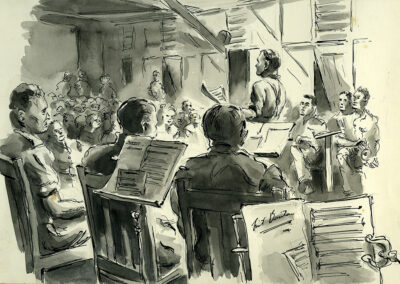 New Zealand Army Band WW2 Pacific giving a concert. Ink and wash drawing by Ralph Miller.