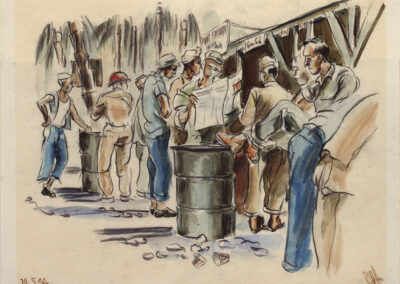 U S Navy sailors waiting for the canteen to open. New Caledonia WW2. Conte and wash drawing by Ralph Miller