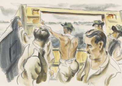 New Zealand soldiers on board a landing barge in New Caledonia in WW2. Conte and wash drawing by Ralph Miller