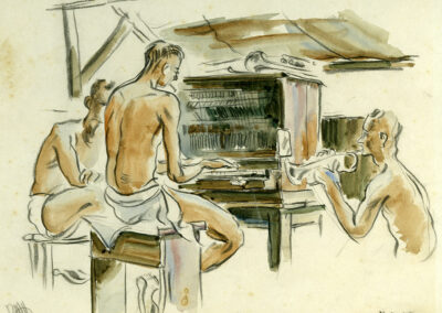 New Zealand Army Band soldiers having a jam session with piano and trumpet. Conte and wash drawing by Ralph Miller.