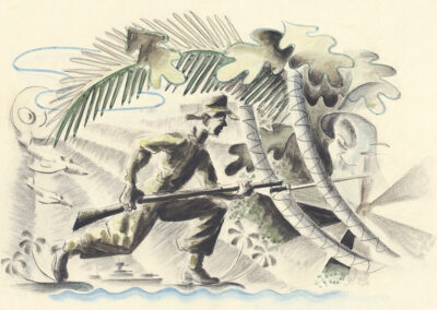 New Zealand soldier with bayonet WW2 Pacific. Conte and wash drawing by Ralph Miller