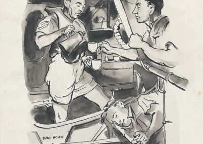 New Zealand soldiers in WW2 Pacific, on a ship having a cup-of-tea. Pen and ink drawing by Ralph Miller