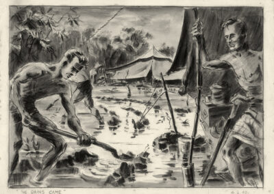 New Zealand soldiers in New Caledonia during WW2 digging ditches to clear rainwater around tents. Conte drawing by Ralph Miller