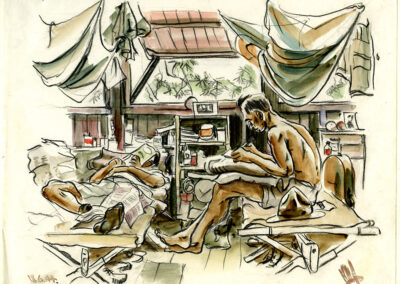 New Zealand soldiers writing home and relaxing in their hut, New Caledonia WW2. Conte and wash drawing by Ralph Miller.