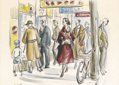 Dunedin street scene Titled 'Red Lady' drawn in conte and wash by Ralph Miller
